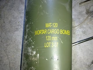 Remnant from the projectile body of a MAT-120 cluster munition found in Misrata, Libya, on April 15, 2011. © 2011 Medical Committee Misurata Hospital